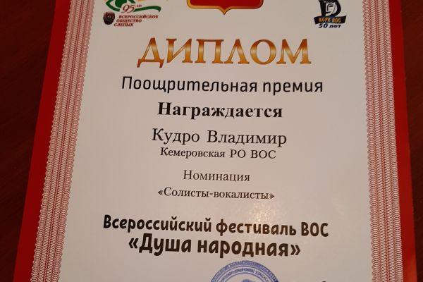 Диплом Кудро В.В. - Всероссийский фестиваль ВОС Душа народная